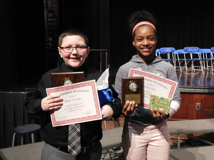 Dylan Thomas and Lamyh Pugh were the winners of the spelling bee.