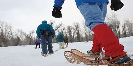 Snowshoeing is a great way to get exercise in during the winter months.